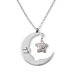 Personalised Engravable Moon & Star Steel Necklace, Size 18+2 Inch