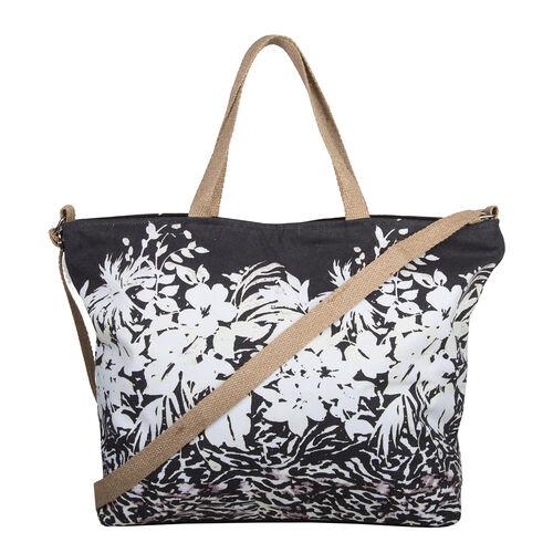 Bulaggi Collection - Flower Zebra Shopping Bag (Size 50x36x12 Cm) - Black and Beige