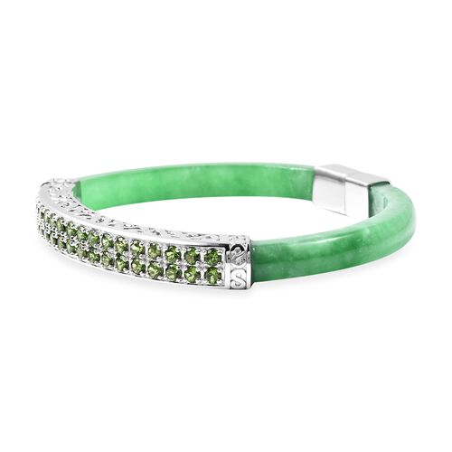 Green Jade and Russian Diopside Bangle (Size 7.5) in Rhodium Overlay Sterling Silver 87.00 Ct, Silver wt 16.00 Gms
