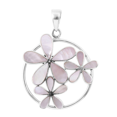 Royal Bali Collection - Mother of Pearl Floral Pendant in Sterling Silver