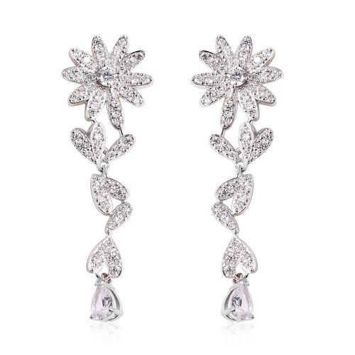 J Francis White Crystal from Swarovski Floral Dangle Earrings in Rhodium Plated Sterling Silver