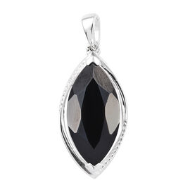 Boi Ploi Black Spinel (Mrq 18x9 mm) Pendant in Sterling Silver 6.750 Ct.
