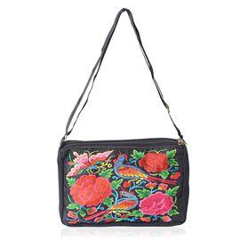 Shanghai Collectio Bird Embroidery Cross Body Bag with Adjustable Shoulder Strap (Size 27x16.5x7.5 Cm) - Colour Black