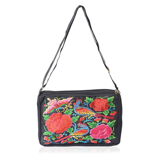 Shanghai Collection Bird Embroidery Cross Body Bag with Adjustable Shoulder Strap (Size 27x16.5x7.5 Cm) - Colour Black