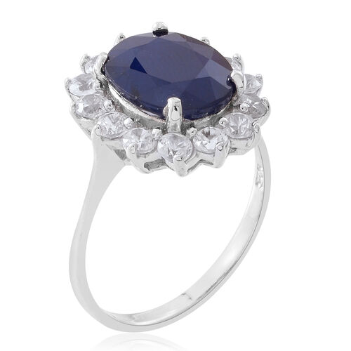 Rare Size Madagascar Blue Sapphire (Ovl 12x10 mm), Natural White Cambodian Zircon Ring in Rhodium Plated Sterling Silver 7.750 Ct.