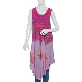 Fuchsia, Pink and Multi Colour Butterfly Embroidered Apparel (Free Size)