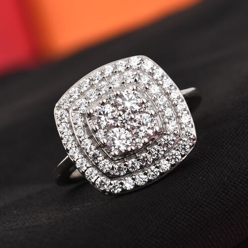 J Francis - Platinum Overlay Sterling Silver Ring Made with SWAROVSKI ZIRCONIA 2.18 Ct