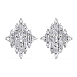 9K White Gold SGL Certified Diamond (I3/G-H) Earrings (with Push Back) 0.50 Ct.