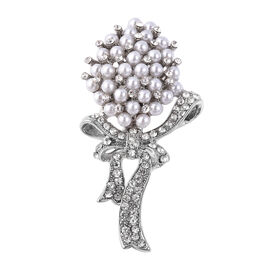 Simulated Pearl and White Austrian Crystal Bouquet Brooch in Silver Plated