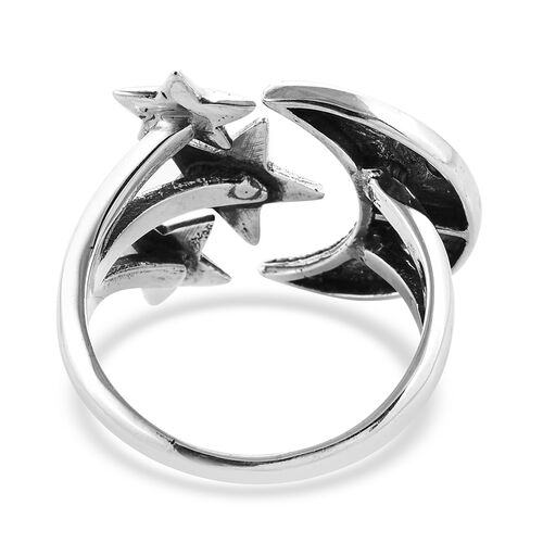 Royal Bali Collection Sterling Silver Star and Moon Adjustable Ring, Silver wt 7.84 Gms
