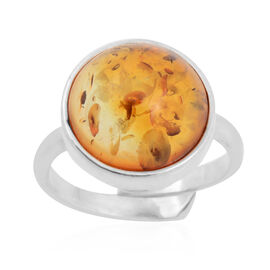 Baltic Amber Solitaire Ring in Sterling Silver
