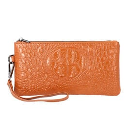 100% Genuine Leather RFID Protected Croc Embossed Wallet (Size 20x10 Cm) - Tan