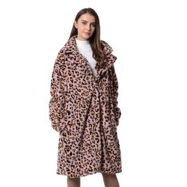 Pink and Black Colour Leopard Print Pattern Faux Fur Long Coat (Size L to XL)