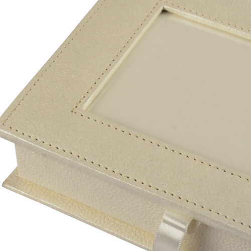 Handcrafted Eco Leatherette Cream Colour Jewellery Box with Photo Frame on Top (Photo Size 15x10 Cm)