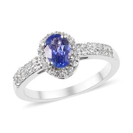 Tanzanite and Cambodian Zircon Halo Ring in Platinum Plated Sterling Silver 1.15 Ct