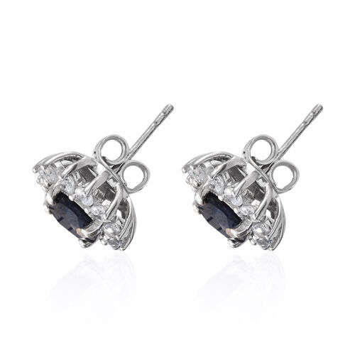 Madagascar  Blue Sapphire (Rnd), Natural Cambodian Zircon Stud Earrings (with Push Back) in Platinum Overlay Sterling Silver 5.000 Ct.