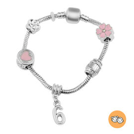 Children Happy 6 Birthday Charms Bracelet in White Austrian Crystal Size 6.5 with Silver Tone