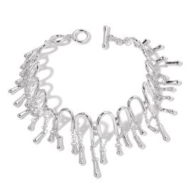 LucyQ Multi Drip Adjustable Bracelet in Rhodium Plated Silver 27.30 Grams 6.5 to 7.5 Inch