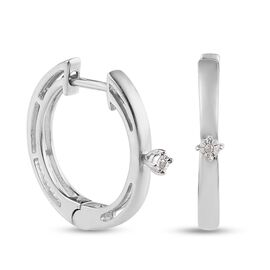 One Time Deal- Diamond Hoop Earrings in Platinum Overlay Sterling Silver