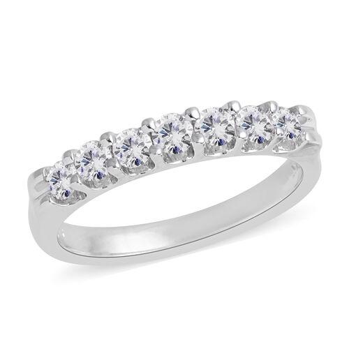 0.50 Carat Diamond 7 Stone Band Ring in 14K White Gold 2.6 Grams I1 I2 GH