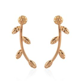 14K Yellow Gold Overlay Sterling Silver Leaf Vine Earrings (with Push Back)