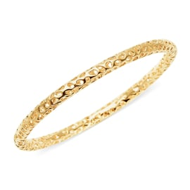 RACHEL GALLEY Yellow Gold Overlay Sterling Silver Allegro Bangle (Size 7.5), Silver wt 16.40 Gms