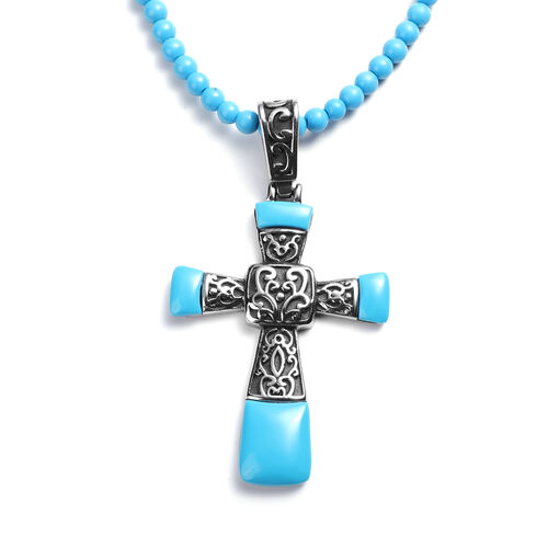 Set of 3 - Blue Howlite Stretchable Bracelet (Size 7), Cross Pendant and Necklace (Size 20 with 3.5 Inch Extender) in Stainless Steel 208.70 Ct.
