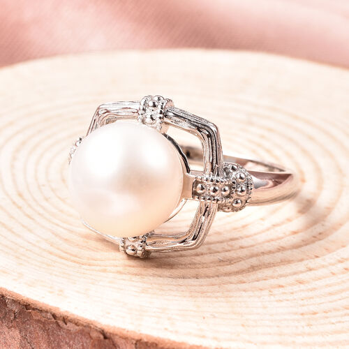 Edison Pearl Solitaire Ring in Rhodium Overlay Sterling Silver