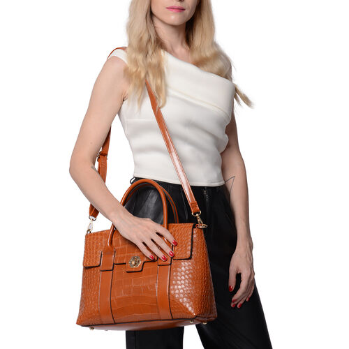 Solid Tan Croc Pattern Handbag with Adjustable Shoulder Strap (34x13x25cm)