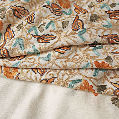 100% Merino Wool Cream, Orange and Multi Colour Flower and Leaves Embroidered Shawl (Size 190x70 Cm)