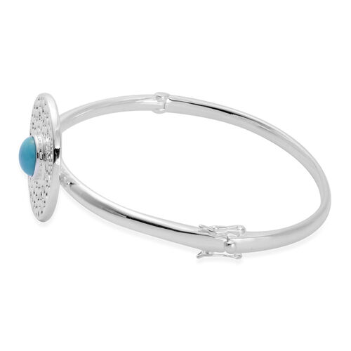 RACHEL GALLEY Arizona Sleeping Beauty Turquoise (Rnd) Lattice Charm Bangle (Size 7.25) in Rhodium Overlay Sterling Silver Silver wt 21.73 Gms.