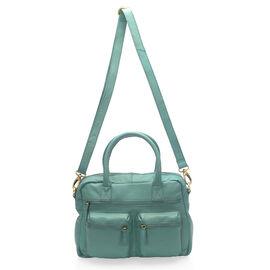Super Soft 100% Genuine Leather Teal Blue Satchel Shoulder Bag with Multi Pockets (Size 32x23x9.5 Cm)