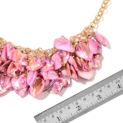 Pink Shell and Simulated Pink Sapphire Necklace (Size 20 with 3 inch Extender) in Yellow Gold Tone
