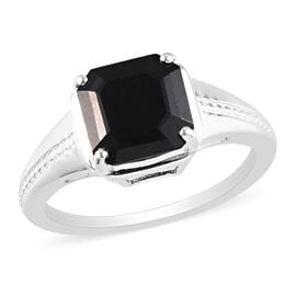 Black Tourmaline Solitaire Ring in Sterling Silver 2.46 Ct.