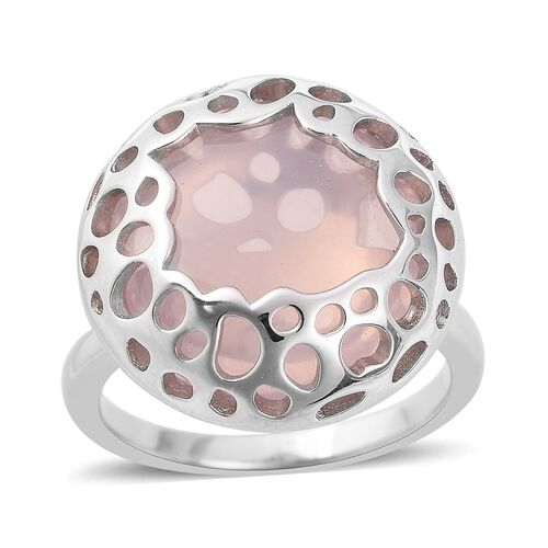 RACHEL GALLEY 15.96 Ct Rose Quartz Ring With Lattice Work in Sterling Silver