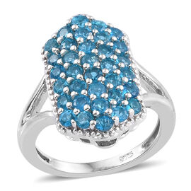2 Carat Neon Apatite Cluster Ring in Platinum Plated Sterling Silver 4.6 Grams