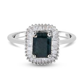Value Buy - Teal Grandidierite and Diamond Ring in Sterling Silver 1.06 Ct.