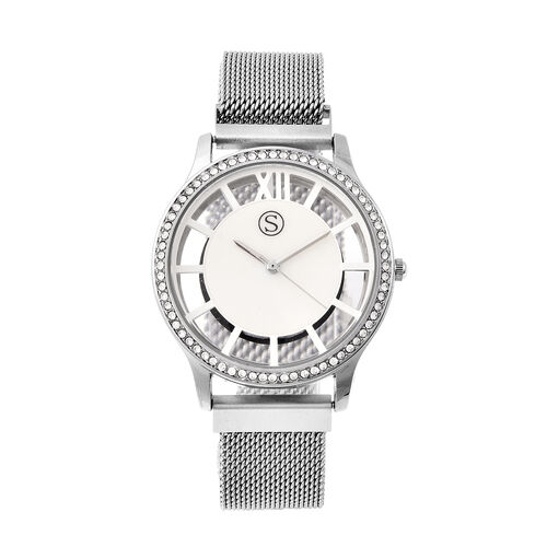 STRADA Japanese Movement White Austrian Studded Water Resistant Watch with Mesh Style Strap in Silve