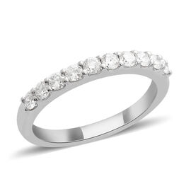 RHAPSODY 0.50 Carat Diamond Half Eternity Ring in 950 Platinum 4.05 Grams IGI Certified VS EF
