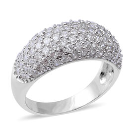 ELANZA Simulated Diamond (Rnd) Ring (Size N) in Rhodium Overlay Sterling Silver, Silver wt 7.19 Gms.