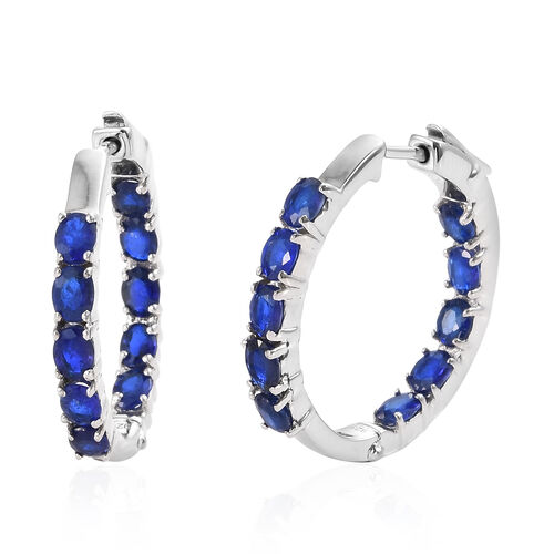 Blue Spinel (Ovl) Hoop Earrings (with Clasp Lock) in Platinum Overlay Sterling Silver 3.500 Ct, Silv