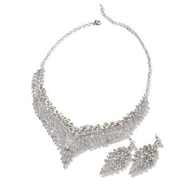 2 Piece Set - White Austrian Crystal (Rnd) Chandelier Design Necklace (Size 19 with 3 inch Extender)