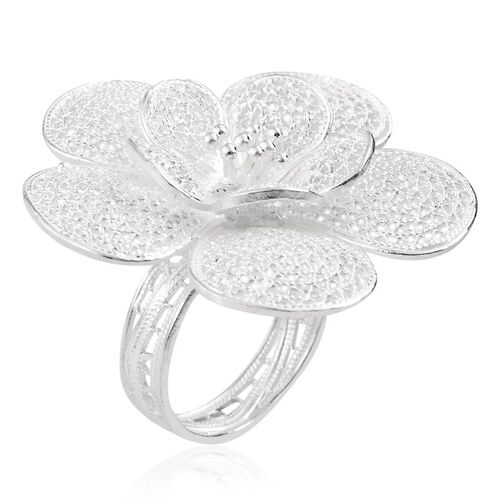 Sterling Silver Floral Ring, Silver wt 7.50 Gms.