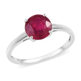 9K White Gold AA African Ruby (Rnd 7 mm) Solitaire Ring 2.00 Ct.