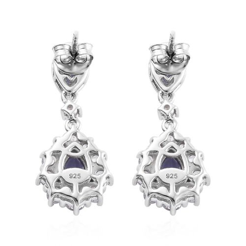 Tanzanite (Pear), Natural Cambodian Zircon Dangle Earrings (with Push Back) in Platinum Overlay Sterling Silver 4.250 Ct.
