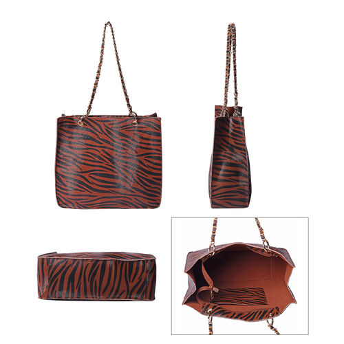 Coffee Colour Zebra Pattern Tote Bag (Size 32x11x28cm)