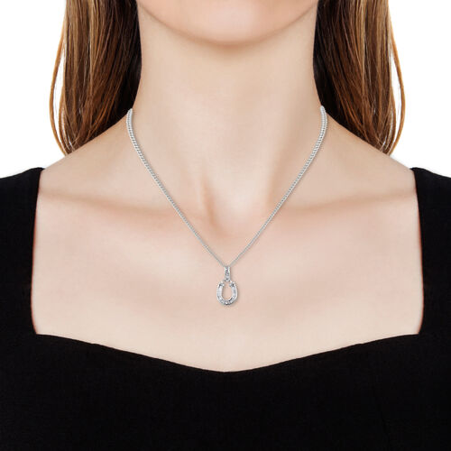 Diamond (Bgt) Horse Shoe Pendant with Chain in Platinum Overlay Sterling Silver 0.340 Ct.