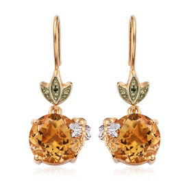 Citrine (Rnd), Diamond Hook Earrings in 14K Gold Overlay Sterling Silver 6.520 Ct.