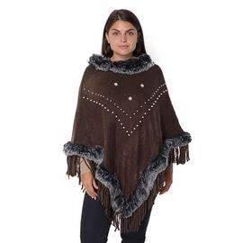 Faux Fur Collar and Border Free Size Poncho with Tassels (L-75 Cm) - Dark Chocolate