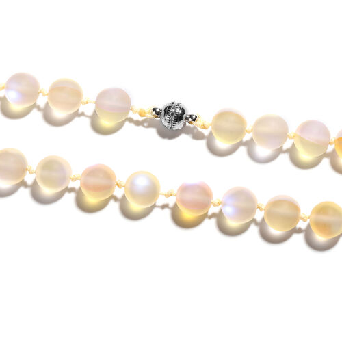 One Time Deal- Champagne Mystic Glass (Rnd 9-11mm) Beads Necklace (Size 20) with Magnetic Lock